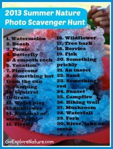 Summer nature photo scavenger hunt